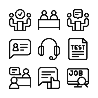 Conjunto de ícones de entrevista de emprego.
