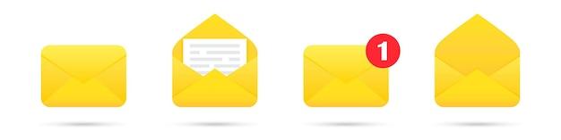 Conjunto de ícones de envelope de correio de notificação com sombra