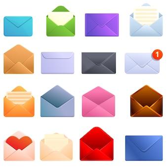 Conjunto de ícones de envelope, estilo desenho animado