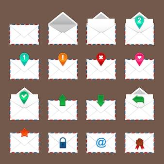 Conjunto de ícones de envelopes