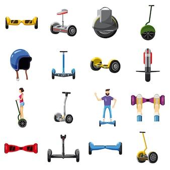 Conjunto de ícones de equilíbrio de scooter, estilo cartoon