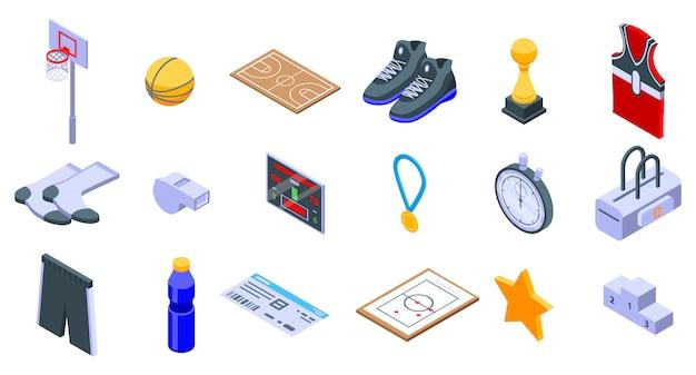 Conjunto de ícones de equipamento de basquete