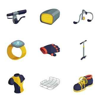 Conjunto de ícones de equipamento de bicicleta, estilo cartoon