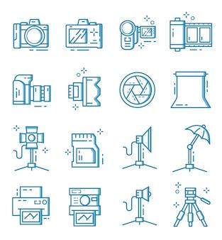 Conjunto de ícones de equipamento de câmera e fotógrafo com estilo de estrutura de tópicos