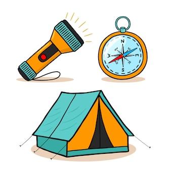 Conjunto de ícones de equipamento de caminhadas de montanha