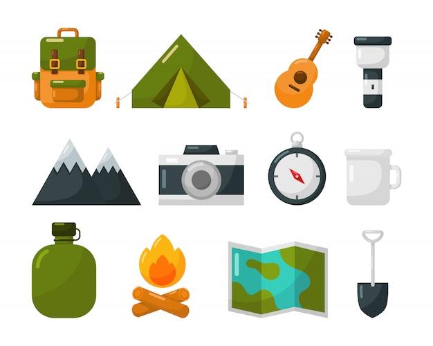 Conjunto de ícones de equipamento de campismo isolado no branco