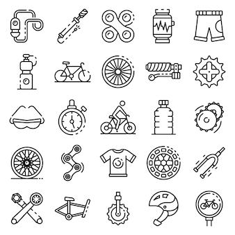 Conjunto de ícones de equipamento de ciclismo, estilo de estrutura de tópicos