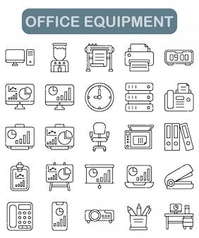 Conjunto de ícones de equipamento de escritório em estilo de estrutura de tópicos