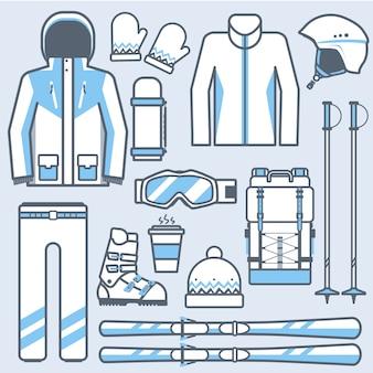 Conjunto de ícones de equipamento de esqui