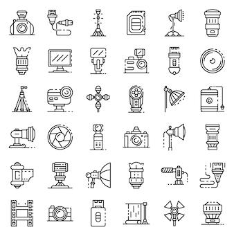 Conjunto de ícones de equipamento de fotógrafo, estilo de estrutura de tópicos