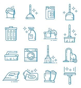 Conjunto de ícones de equipamento de limpeza com estilo de estrutura de tópicos