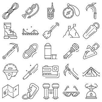 Conjunto de ícones de equipamento de montanhismo. conjunto de contorno de ícones de vetor de equipamento de montanhismo