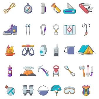 Conjunto de ícones de equipamento de montanhismo