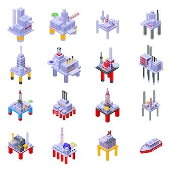 Conjunto de ícones de equipamento de perfuração no mar. conjunto isométrico de ícones de equipamento de perfuração marítima para web