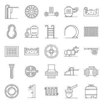 Conjunto de ícones de equipamento de piscina, estilo de estrutura de tópicos