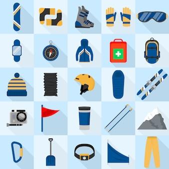 Conjunto de ícones de equipamento de snowboard de montanha, estilo simples