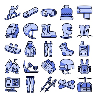 Conjunto de ícones de equipamento de snowboard, estilo de estrutura de tópicos