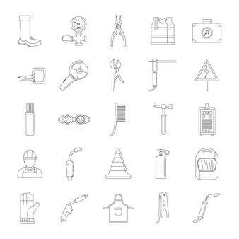 Conjunto de ícones de equipamento de soldador