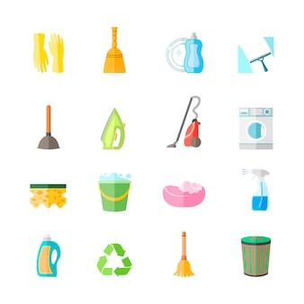 Conjunto de ícones de equipamento de trabalho doméstico de limpeza de luvas spray de ferro escova isolada ilustração vetorial