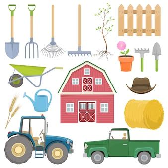 Conjunto de ícones de equipamentos agrícolas coloridos.