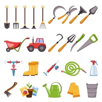 Conjunto de ícones de equipamentos agrícolas, estilo cartoon