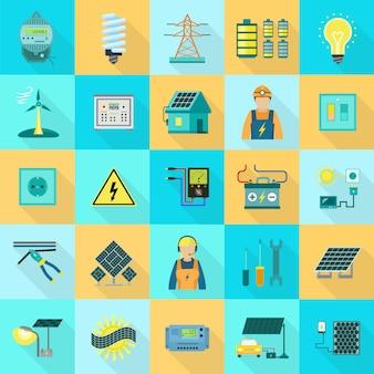 Conjunto de ícones de equipamentos de energia