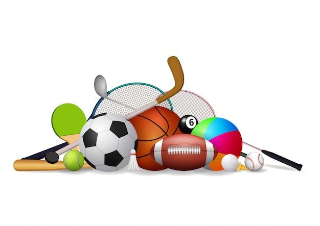 Conjunto de ícones de equipamentos de esporte.