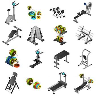 Conjunto de ícones de equipamentos de fitness realista
