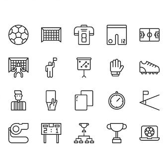Conjunto de ícones de equipamentos de futebol ou futebol