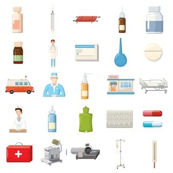 Conjunto de ícones de equipamentos de medicina em estilo cartoon