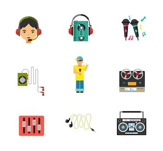 Conjunto de ícones de equipamentos de música