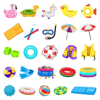 Conjunto de ícones de equipamentos de piscina. conjunto de ícones de equipamentos de piscina para web design em desenho animado