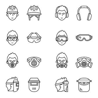 Conjunto de ícones de equipamentos de proteção