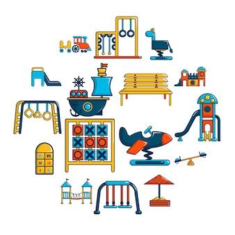 Conjunto de ícones de equipamentos de recreio, estilo cartoon