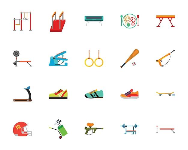 Conjunto de ícones de equipamentos desportivos