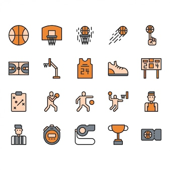 Conjunto de ícones de equipamentos e atividades de basquete