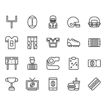 Conjunto de ícones de equipamentos e atividades de futebol americano