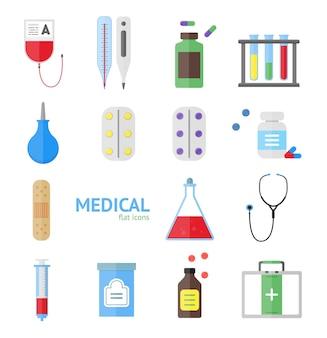 Conjunto de ícones de equipamentos médicos de saúde sobre um fundo claro.