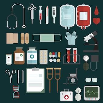 Conjunto de ícones de equipamentos médicos vector