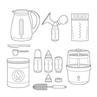 Conjunto de ícones de equipamentos para alimentação de bebê, esboço