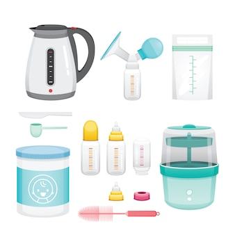 Conjunto de ícones de equipamentos para alimentação de bebê