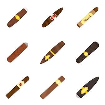 Conjunto de ícones de erva de papel de charuto cubano