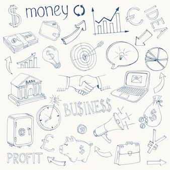 Conjunto de ícones de esboço de doodle de infográfico de negócios e dinheiro em preto e branco que descreve o investimento