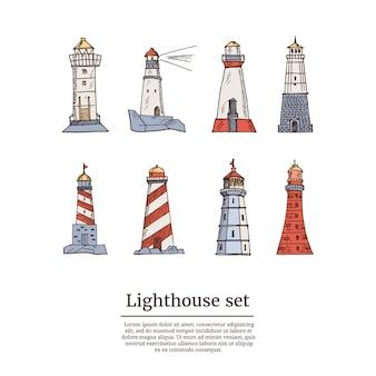 Conjunto de ícones de esboço de farol. ilustração isolada