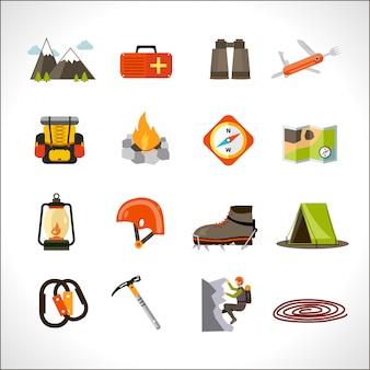 Conjunto de ícones de escalada