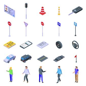 Conjunto de ícones de escola de condução, estilo isométrico