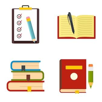 Conjunto de ícones de escola de estudo de lição de casa