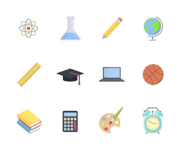 Conjunto de ícones de escola e educação em ilustração de design de estilo simples