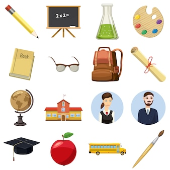 Conjunto de ícones de escola em estilo cartoon, isolado no fundo branco
