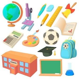 Conjunto de ícones de escola em estilo cartoon